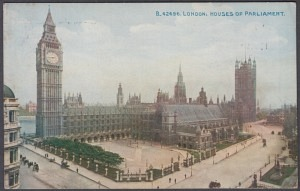 coloured Picture Post Card Houses of Parliament London 1910